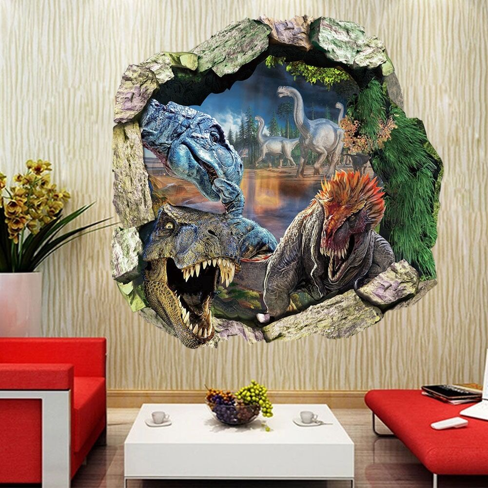 Jurassic World Dinosaur Cracked Wall Vinyl Wall Decals Sticker Kids Room Decor