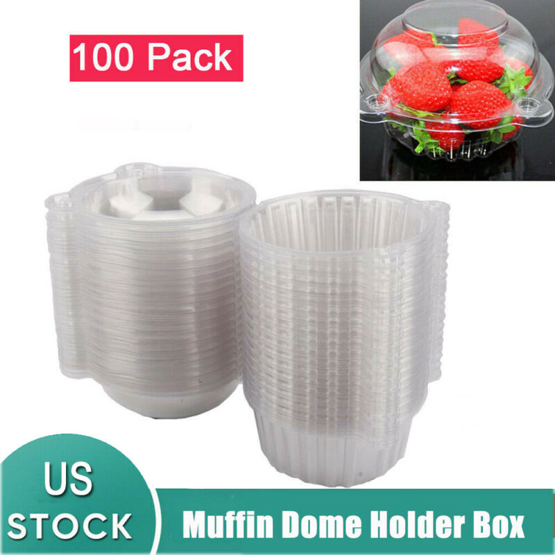 100pcs Individual CupCake Boxes Clear Plastic Single Muffin Case Pods Domes