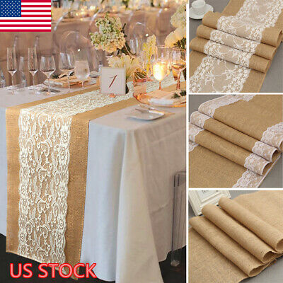 Burlap Table Runner Rectangle Tablecloth Banquet Wedding Party Vintage Decor](Burlap Wedding Decor)