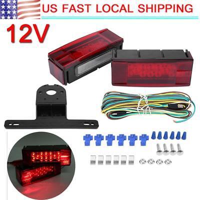 Submersible Trailer RV Rectangle LED Light kit Red Stop Turn Tail Brake Over