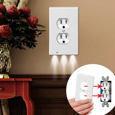 Induction LED Lamp Night Angel Guide Light Plug Cover Socket Plate 110V Duplex