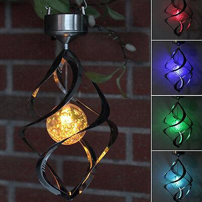 Solar Power Lights Wind Spinner LED Lamp Outdoor Hanging Wind Chime Light Garden