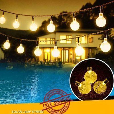 20ft 30 Solar LED Outdoor Waterproof String Lights Warm White Garden Decor Ball ()