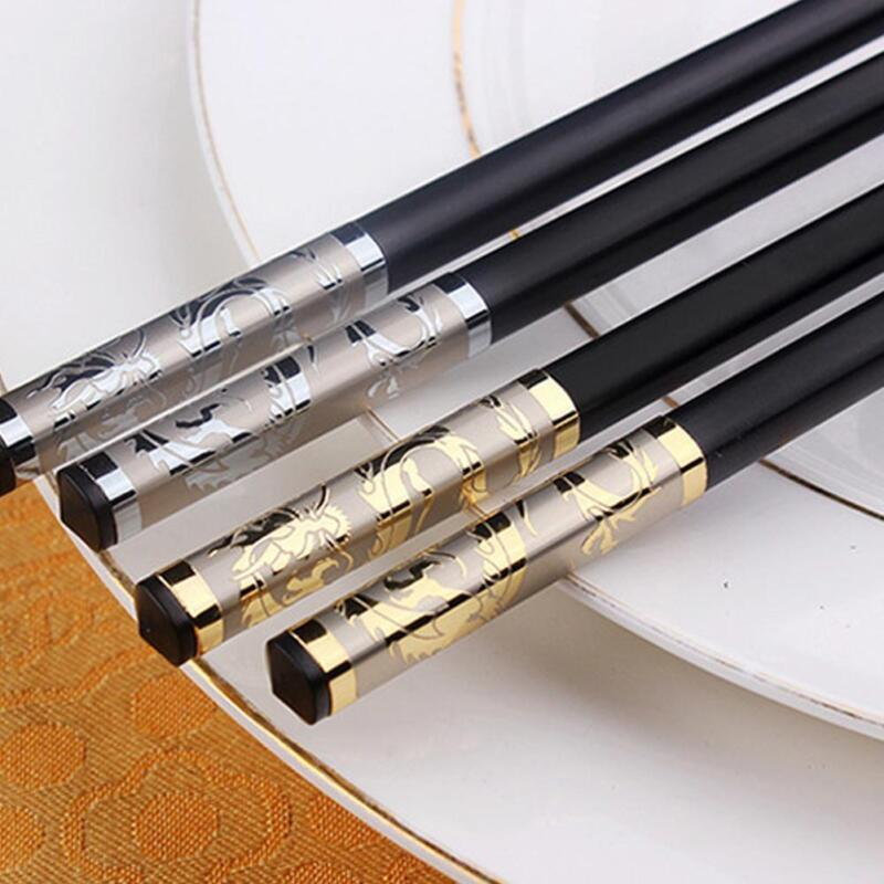 Luxury Chopsticks Chopsticks Cutlery Dishware Black Alloy Chinese Style for Gift