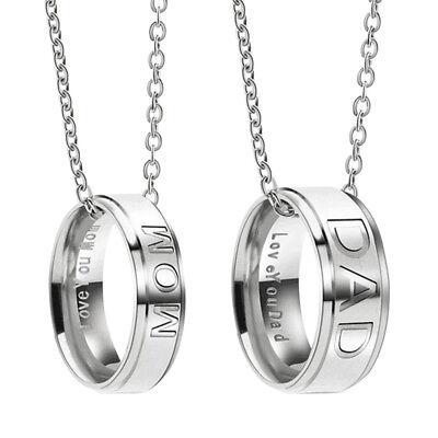 2 x Edelstahl Halsketten Mutter Vater mom Couple Paar Anhänger Silber Gravur Neu, gebraucht gebraucht kaufen  Ludwigshafen