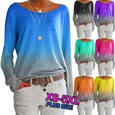 Damen Verlaufsfarbe Lange Ärmel T-Shirt Beiläufig Tops Bluse oberteile Übergröße