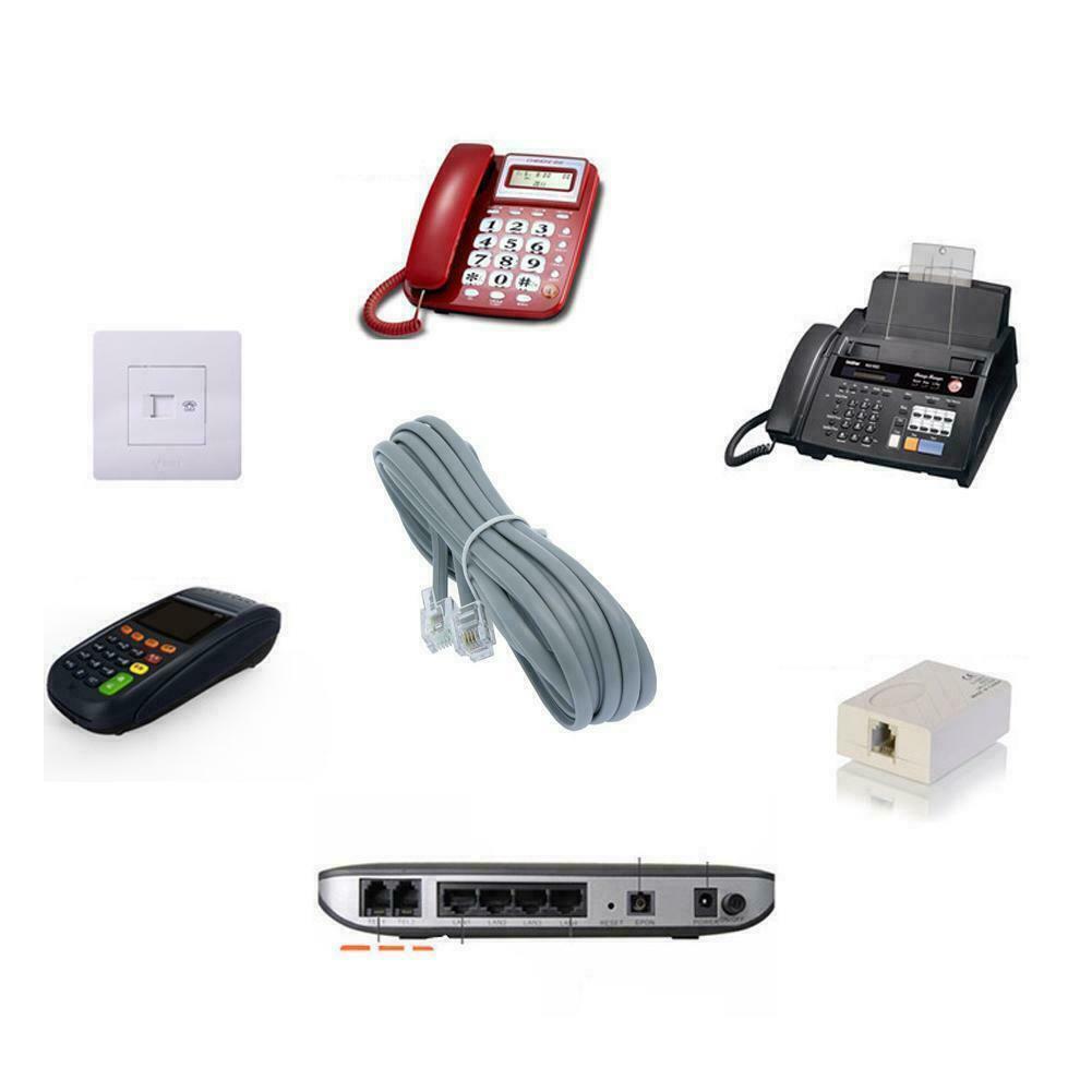 7FT Line Cord Cable 6P6C RJ12 RJ11 DSL Modem Fax Phone Landl
