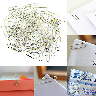 100pcs New Office Plain Steel Paper Clips 29mm Paperclips Metal Silver 1 Set