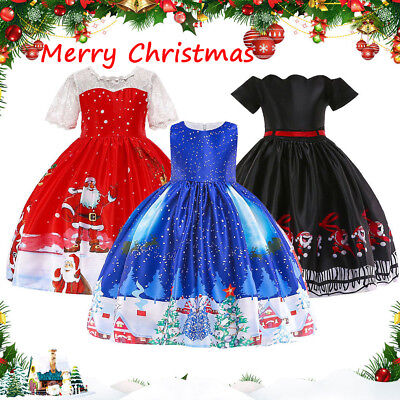 Children Girls Christmas Dress Cartoon Santa Snowflake Princess Dresses For Kids](Christmas Dresses For Children)