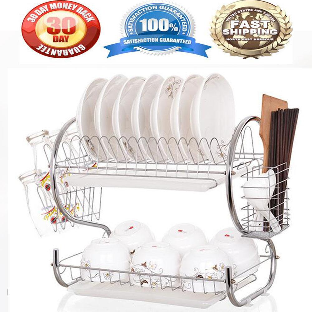 Kitchen Organization Holder 2 Tier Stainless Steel Dish