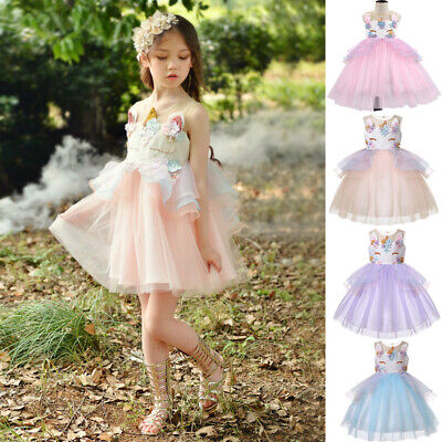 Flower Girls Unicorn Dress up Fancy Costume for Pageant Party Wedding Bridesmaid](Flower Costume For Girls)