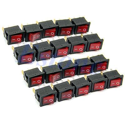 10pcs Ac 6a250v 10a125v Red Light 3 Pin On-off Spst Snap In Boat Rocker Switch