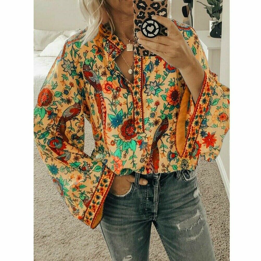 HOSOME Fashion Womens Casual Long Sleeve Loose Stand Stylish Popular Flared Sleeve T-Shirt Top