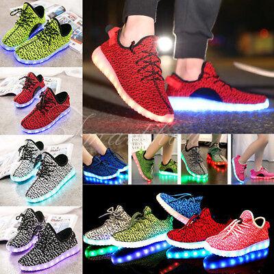 SAGUARO Adults Kids Luminous Light up LED Shoes Casual Sportswear Sneakers USB