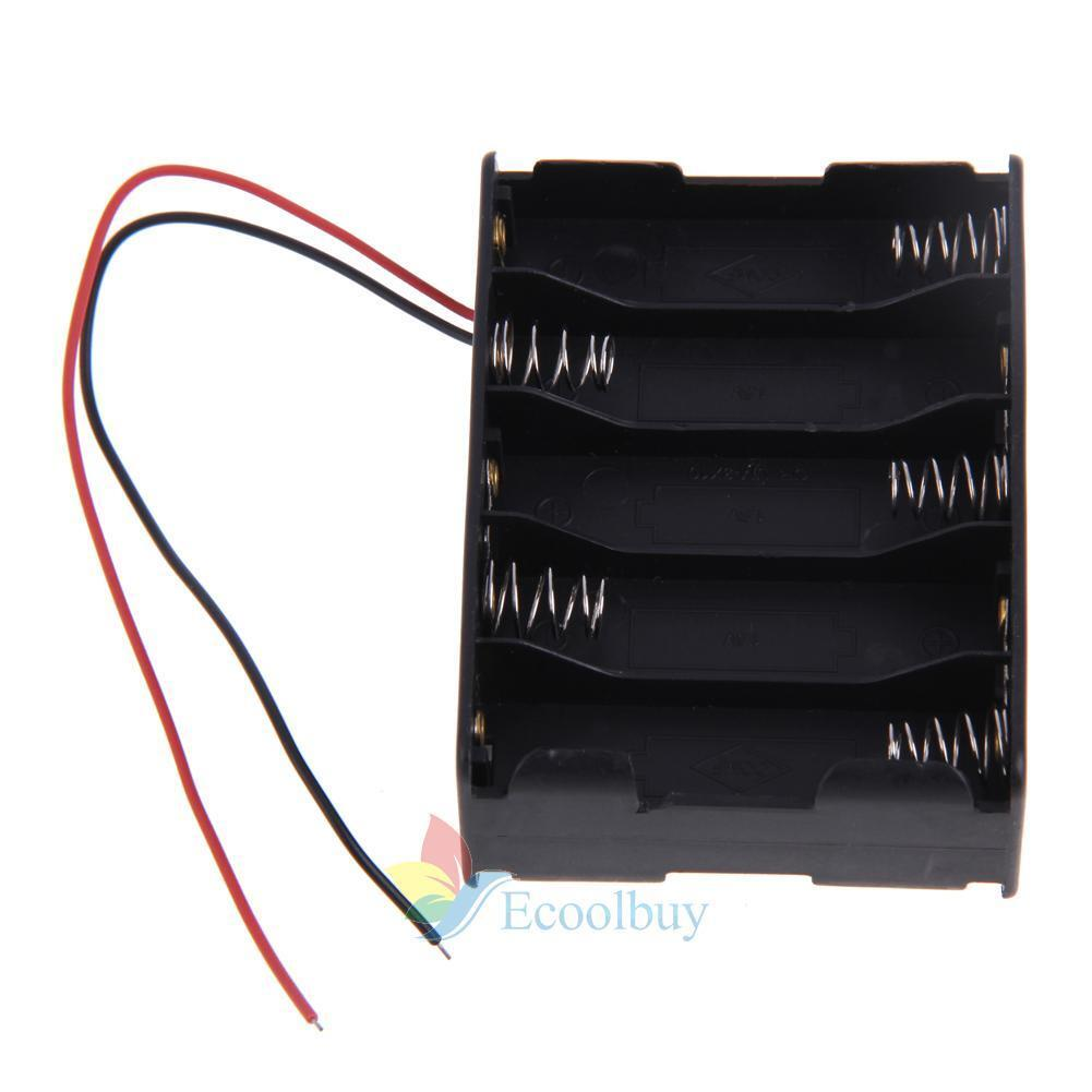 A#S0  1 pcs New 10x AA Mobile Battery Clip Holder Case Box with Wire Leads Black