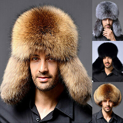 Men Women Fur Leather Hat Winter Warm Ski Cap Russian Cossack Trapper Ear Flap Winter Ski Earflap