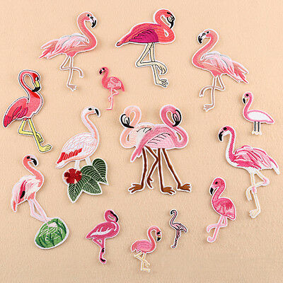Diy Pink Flamingo Tropical Bird Sew Ironed On Badge Embroidery Applique Patch Hs