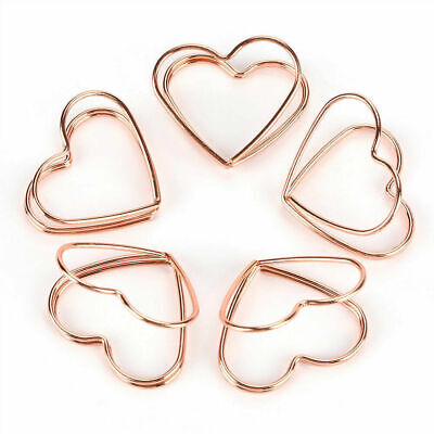5pcs Rose Gold Color Metal Heart Shape Paper Clips Cute Bookmark Marking Clip