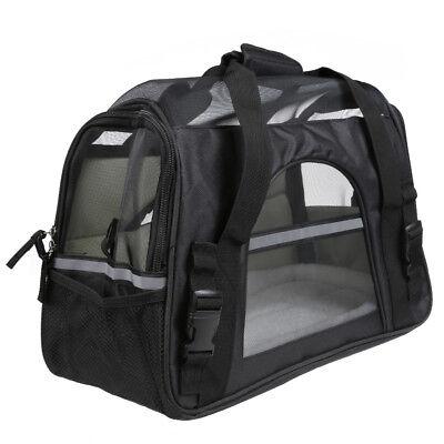 Large Pet Carrier Soft Sided Cat / Dog Comfort Black Travel Bag Airline Approved