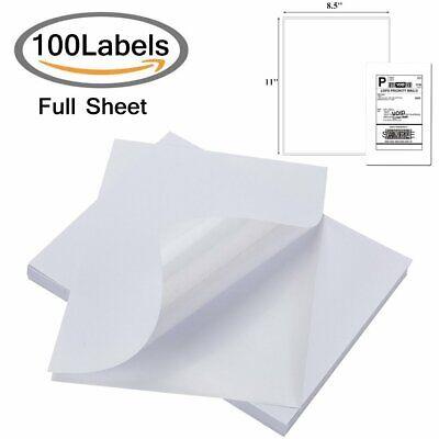 100 Full Sheet Blank Shipping Labels 8.5x11 Self Adhesive Laser Inkjet Printer