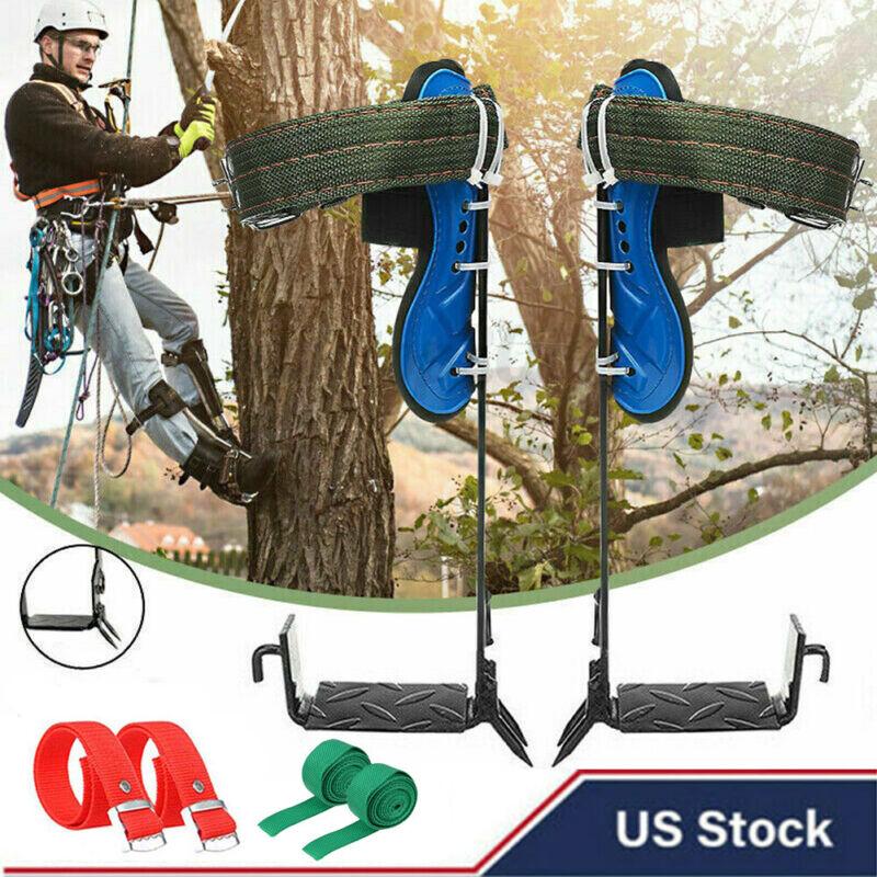 2-Gears Tree Climbing Spike Set Safety Belt Adjustable Rope Lanyard Rescue Belt