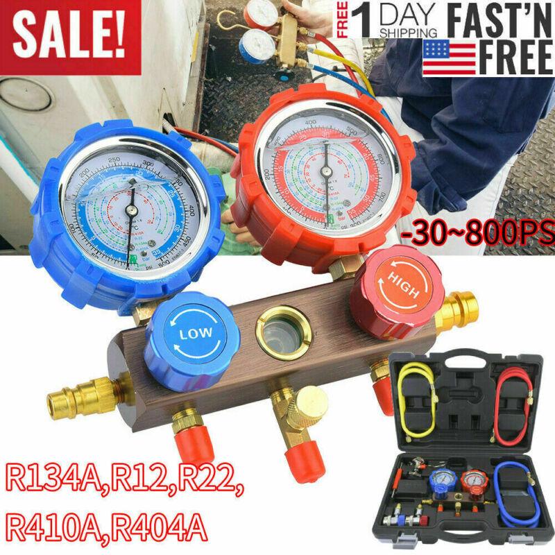 AC Diagnostic Manifold Freon Gauge for R134A R12 R22 R410A R404A A/C Tool Kit US