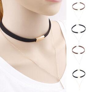 Mujer-Collar-De-Negro-Terciopelo-Gargantilla-colgante-Cadena-Necklace-Joyeria