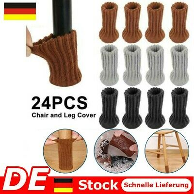 24X Stuhlbein Socken Gestrickte Möbel Fußbodenschutz Dehnbar Tischabdeckung Caps