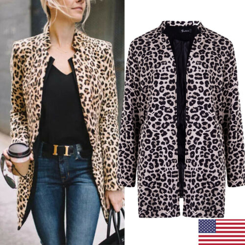 Women's Leopard Jacket Sweater Tops Warm Casual Winter Cardi