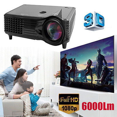 6000 Lumens HD 1080P LED LCD 3D VGA HDMI TV Home Theater Projector Proyector US