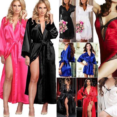 - Women Long Bride Robe Satin Silk Night Dressing Gown Bathrobe Bridesmaid Kimono