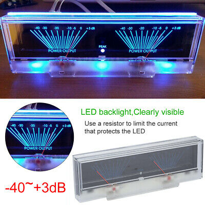 Power Amplifier Panel Dual Vu Meter Audio Db Table Level With Backlight -403db