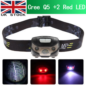 Ultra Bright CREE Q5 + 2 Red LED 5 modes 3000LM Headlamp Headlight Head Torch UK