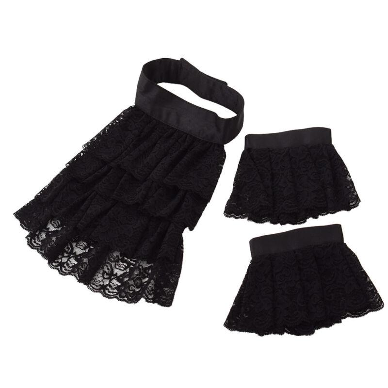 Medieval Black Lace Ruffle Jabot  Detachable Collar Wirst Cuff Set Victorian