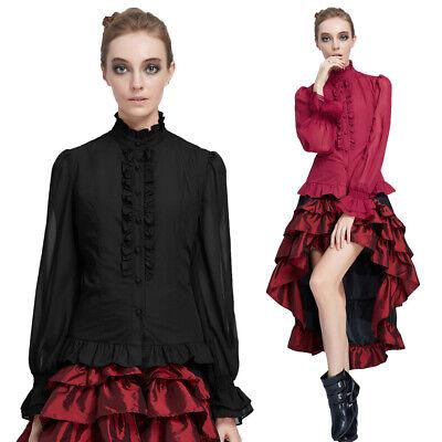 Damen Krawatte Rüschen Vamp Hemd Gothic Pirat Bluse - Rüschen Bluse Pirat
