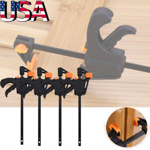 7ef66b6d87 4Packs 4 Inch Wood Working Bar F Clamp Grip Ratchet Release Squeeze DIY  Hand New