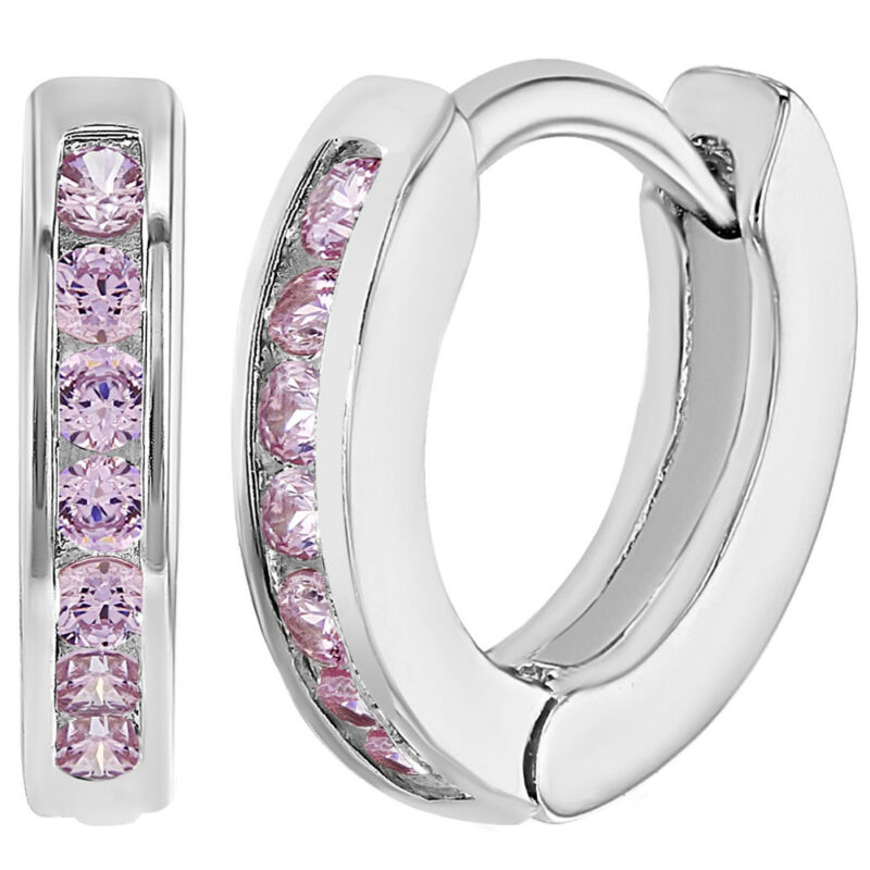 Rhodium Plated XS Pink CZ Huggie Small Hoop Toddler Girls Earrings 0.39""