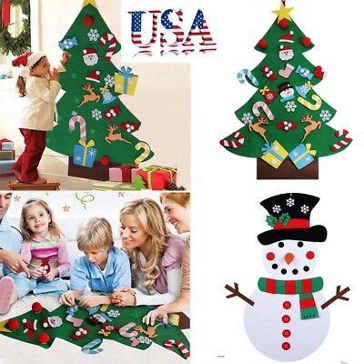 Toddler Felt - DIY Felt Toddler Christmas Tree w/ Ornaments Kids Toys Xmas New Year Gift Decor
