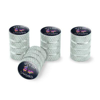 Let's Get Smashed Pinata Drinking Funny Tire Rim Wheel Aluminum Valve Stem Caps