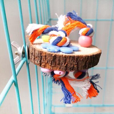 Round Wooden Stand Platform Parrot Toys Bird Pet Bite Chew Cage Hangings Decor