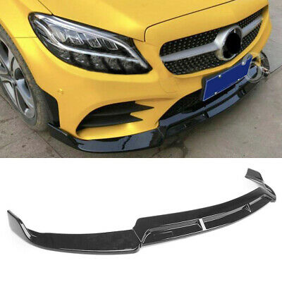 Front Bumper Lip for 19+ Mercedes Benz C Class W205 C300 Gloss Black Spoiler Lip