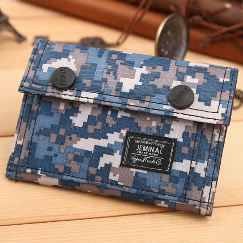 Men Teenage Boys Camouflage Flap Wallet Oxford Tri-Fold Zip Coin Purse Trendy