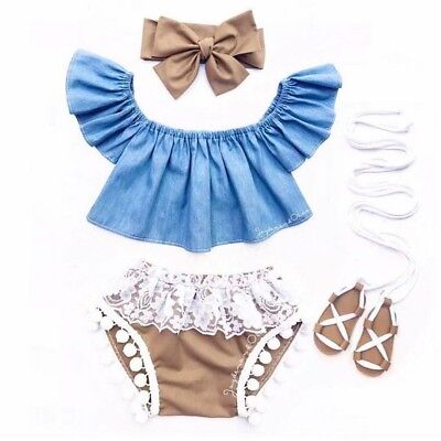 Us Infant Newborn Baby Girl Fly Sleeve  Denim Top Lace Shorts 3Pc Clothes Outfit