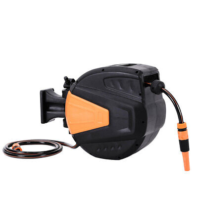 30m Outlet Retractable Auto Rewind Water Pipe Garden Hose Reel Wall Mounted Yard