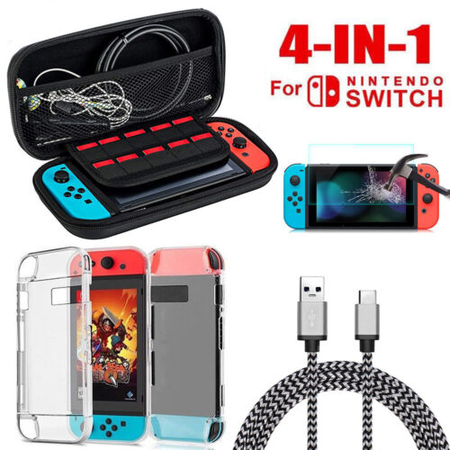 For Nintendo Switch Hard Carrying Case Bag+Shell Cover+Charging Cable+Protector Bags, Skins & Travel Cases