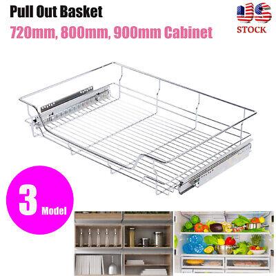 Storage Cabinet Sliding Drawer Rack Organizer Metal Pull Out Wire Basket Bin -
