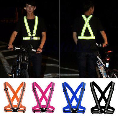 Adjustable Safety Reflective Vest Straps Jacket Night Running Sports Gear tall