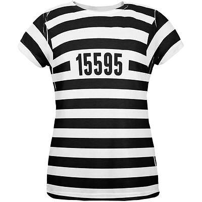 Halloween Prisoner Old Time Striped Costume All Over Womens T Shirt