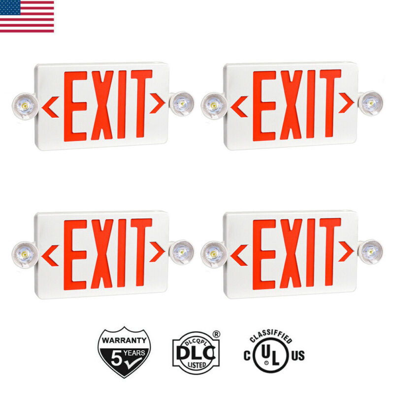 2/4PCS UL-Listed Emergency Light-Red LED Exit Sign-Dual Lamp ABS Fire Resistance