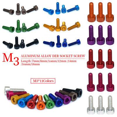 10pcs Metric M3 Aluminum 7075 Hex Socket Cap Head Screw Multicolor Bolts For Rc